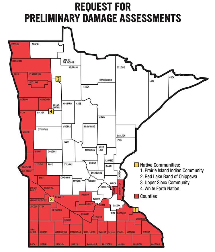 News Releases - Minnesota Requests FEMA Preliminary Damage